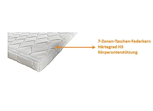 SAM® Design Boxspringbett Wild Grenada weiß mit 7-Zonen H2 Taschenfederkern-Matratze und Chrom-Füßen 180 x 200 cm 7
