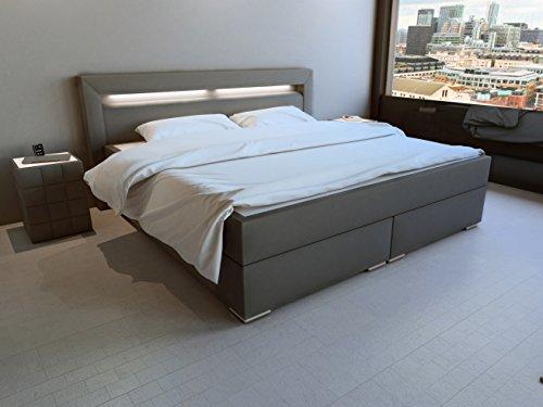 sam led boxspringbett 160x200 cm austin kunstleder grau nosagfederkern 7 zonen h3. Black Bedroom Furniture Sets. Home Design Ideas