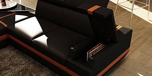 wohnlandschaft xxl leder schwarz orange york teilleder ledersofa polsterecke u form. Black Bedroom Furniture Sets. Home Design Ideas