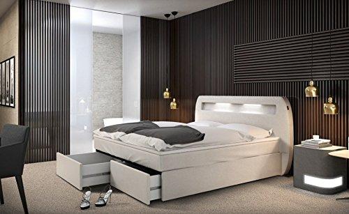 mallira boxspringbett 180x200 cm wei es polster bett in kunstleder mit integrierter led. Black Bedroom Furniture Sets. Home Design Ideas