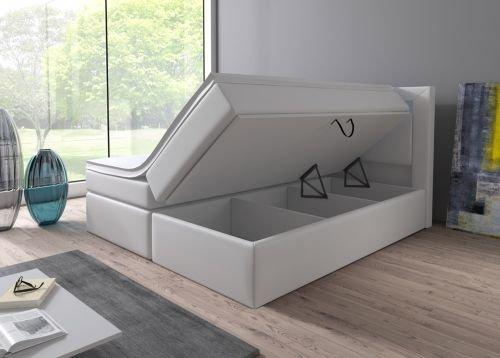 boxspringbett 160x200 180x200 wei mit bettkasten led kopflicht hotelbett br ssel lift 180x200. Black Bedroom Furniture Sets. Home Design Ideas