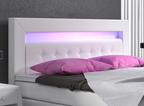 boxspringbett 180x200 wei mit bettkasten led kopflicht kunstleder hotelbett polsterbett venedig. Black Bedroom Furniture Sets. Home Design Ideas