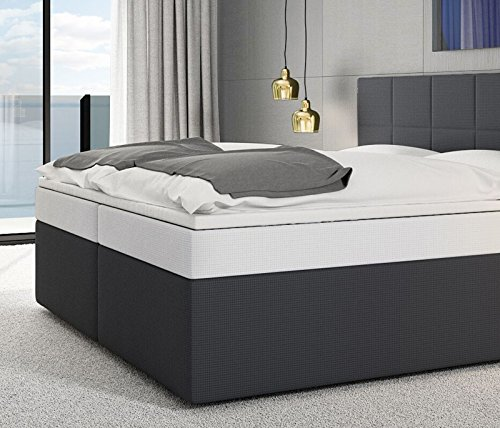 sam design boxspringbett stuttgart mit neo stoff bezug in dunkel grau mit bonellfederkern 7. Black Bedroom Furniture Sets. Home Design Ideas