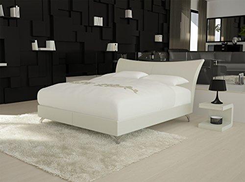 SAM® Design Boxspringbett Wild Grenada weiß mit 7-Zonen H2 Taschenfederkern-Matratze und Chrom-Füßen 180 x 200 cm