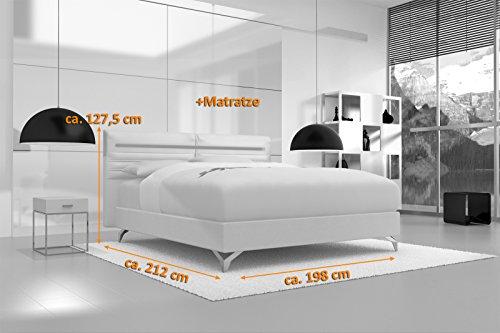 SAM® Design Boxspringbett Almeria Grenada weiß mit 7-Zonen H2 Taschenfederkern-Matratze, Chrom-Füßen und LED-Beleuchtung 180 x 200 cm 3