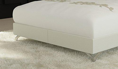 SAM® Design Boxspringbett Wild Grenada weiß mit 7-Zonen H2 Taschenfederkern-Matratze und Chrom-Füßen 180 x 200 cm 2