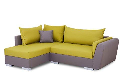 b famous 100750 polsterecke mit bettfunktion und bettkasten ecksofa stoff grau gr n 161 x. Black Bedroom Furniture Sets. Home Design Ideas