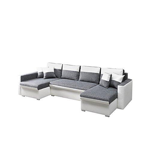 ecksofa flavio u eckcouch mit 3 bettkasten und schlaffunktion design schlafsofa inklusive kissen. Black Bedroom Furniture Sets. Home Design Ideas