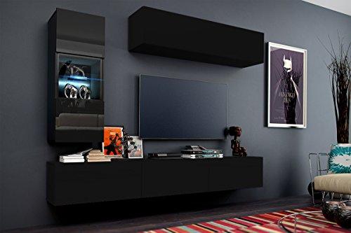 Future 12 wohnwand anbauwand m bel set wohnzimmer schrank for Wohnzimmerschrank schwarz