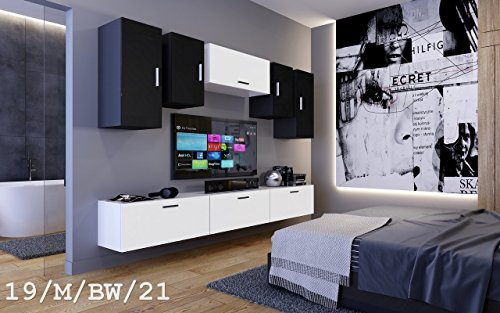 future 19 wohnwand anbauwand m bel zimmer schrank tv schrank mediam bel matt wei schwarz sonoma. Black Bedroom Furniture Sets. Home Design Ideas