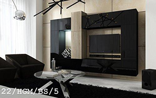 Future 22 wohnwand anbauwand wand schrank wohnzimmer for Wohnzimmerschrank schwarz hochglanz