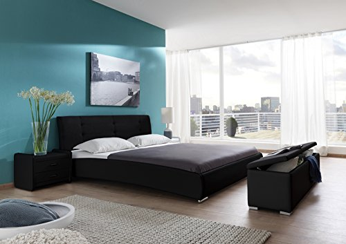 sam polsterbett 90 200 cm bastia schwarz pflegeleichtes design bett mit kunstlederbezug. Black Bedroom Furniture Sets. Home Design Ideas