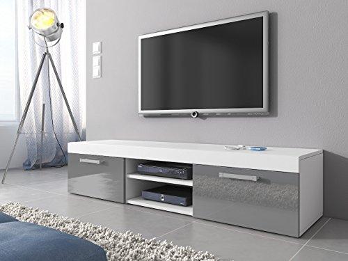 tv mbel lowboard schrank stnder mambo wei mattgrau hochglanz 160 cm 0 m bel24. Black Bedroom Furniture Sets. Home Design Ideas