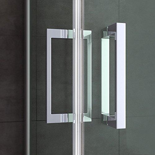 TBH: 85x75x195cm Design Duschabtrennung Ravenna24K mit Doppelschwingtür, ESG-Sicherheitsglas Klarglas, inkl. beidseitiger Nanobeschichtung, Hebe- und Senkmechanismus, Duschkabine, Eckdusche