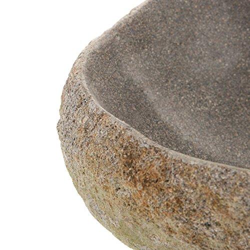 WOHNFREUDEN Naturstein Waschbecken Megalith rund oval 30-40 cm poliert ✓ Stein Aufsatzwaschbecken für Gäste WC Bad ✓ Stein-Handwaschbecken für Waschplatz ✓ schnell und versandkostenfrei ✓