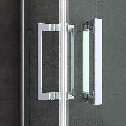TBH: 70x90x195cm Design Duschabtrennung Ravenna24ms mit Doppelschwingtür, ESG-Sicherheitsglas Klarglas mit Milchglas Streifen, inkl. Nanobeschichtung, Hebe- und Senkmechanismus, Duschkabine, Eckdusche
