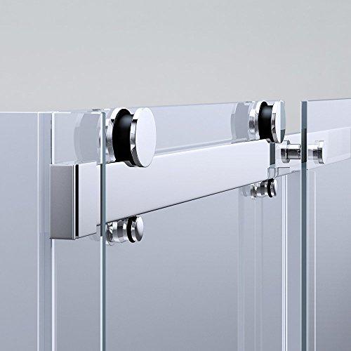 TBH: 90x110x195 cm Design Duschabtrennung mit Schiebetür Ravenna17, 8mm ESG-Sicherheitsglas Klarglas, inkl. beidseitiger Nano-Beschichtung