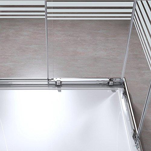 BTH: 75x80x190 cm Design Duschabtrennung Ravenna16S, ESG-Sicherheitsglas Klarglas mit Milchglas Streifen, inkl. Nanobeschichtung, Eckdusche