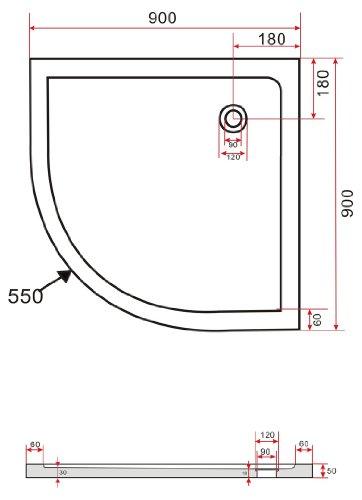 90x90 Viertelkreis Duschtasse Duschwanne Extra flach 50 mm Viertelkreis Schwarz