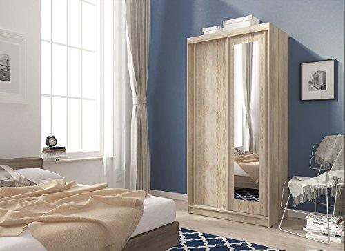 Kleiderschrank Schwebetürenschrank ALASKA mit spiegel (100/200/58 cm B/H/T, sonoma eiche)