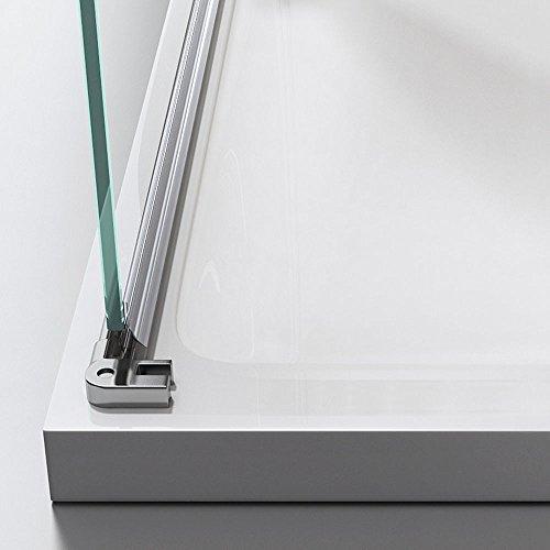 TBH: 75x90x195 cm Design Duschkabine Duschabtrennung Ravenna28MS, ESG-Sicherheitsglas Klarglas mit Milchglas Streifen, inkl. NANO-Beschichtung, Eckdusche
