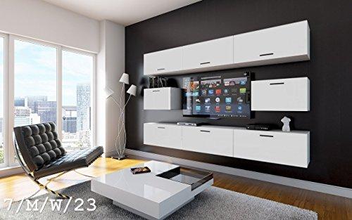 FUTURE 7 Wohnwand Anbauwand Wand Schrank Wohnzimmer Wohnzimmerschrank LED RGB Beleuchtung Matt Weiß Schwarz (7/M/W/23, Möbel)