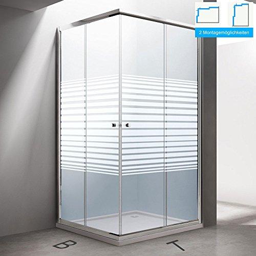 BTH: 100x75x190 cm Design Duschabtrennung Ravenna16S, ESG-Sicherheitsglas Klarglas mit Milchglas Streifen, inkl. Nanobeschichtung, Eckdusche