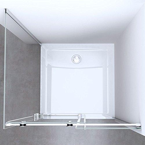 TBH: 75x100x195 cm Design Duschabtrennung mit Schiebetür Ravenna17, 8mm ESG-Sicherheitsglas Klarglas, inkl. beidseitiger Nano-Beschichtung
