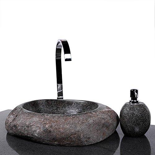 WOHNFREUDEN Große Auswahl an Naturstein Waschbecken rund oval 40 cm ✓ Stein Aufsatzwaschbecken für Gäste WC Bad ✓ einzeln fotografiert + Auswahl Granit Waschbecken aus Bildergalerie ✓ versandkostenfrei ✓
