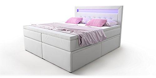 Box Bett Doppelbett Hotelbett Delia mit Bettkasten Schubkasten LED Kunstleder weiß 160 180x200 Ehebett Bonellfederkern Topper (180 x 200 cm)