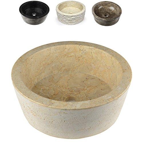 DIVERO Designbecken Marmor Naturstein Aufsatz-Waschbecken Venedig Handwaschbecken Waschschale Stein poliert rund creme sand