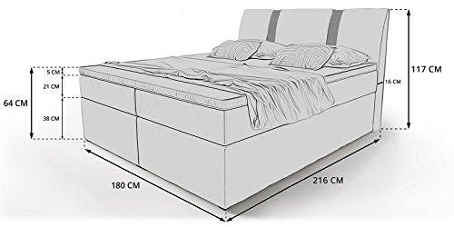 Boxspringbett mit Bettkasten weiß Arizona2 Doppelbett Hotelbett Topper Chromblende Taschenfederkern (180x200cm)