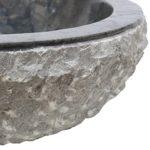 Natursteinwaschbecken Marmorwaschbecken Waschbecken Handwaschbecken Aufsatzwaschbecken 36cm Marmor Stein Rund Schwarz Grau Nr. 2 + PopUp Abfluss-Ventil