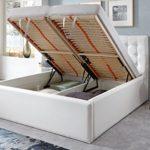 Luxus Polsterbett mit Bettkasten Molly XXL Kunslederbett Doppelbett Ehebett Weiß (180x200cm)