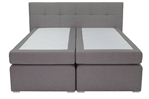 Boxspringbett ka-line® 180x200 cm Hellgrau H3 mit Füßen Polsterbett Premium Hotelbett Bett amerikanische Doppelbett Luxus Komfort