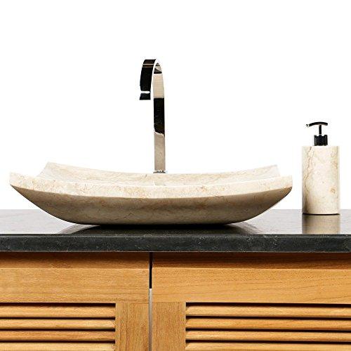Wohnfreuden Naturstein Marmor Waschbecken PIRING Waschtisch 50 cm creme