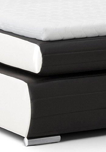 B-famous Boxspringbett Monaco, 180x200 cm, PU Kunst-Leder, schwarz/weiß