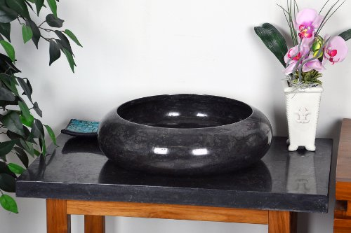 DIVERO Marmor Naturstein Aufsatz-Waschbecken Handwaschbecken Waschschale Stein poliert rund schwarz