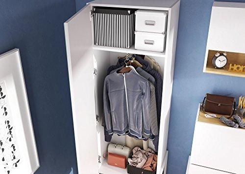 Schrank Kleiderschrank Dielenschrank CLARO (Nußbaum Barcelona / Weiß matt)