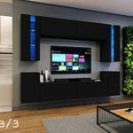 FUTURE 24 Wohnwand Anbauwand Wand Schrank Möbel Wohnzimmer Wohnzimmerschrank Möbelset Matt Weiß Schwarz Sonoma LED RGB Beleuchtung (24/M/B/3, LED blau)