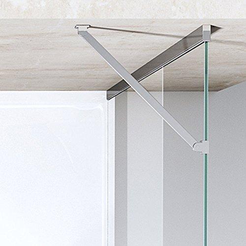 TBH: 90x90x195 cm Design Duschkabine Duschabtrennung Ravenna28MS, ESG-Sicherheitsglas Klarglas mit Milchglas Streifen, inkl. NANO-Beschichtung, Eckdusche