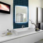 Badspiegel mit LED-Beleuchtung und Touch Sensor, 50 x 70 cm, 220-240V, Spiegel mit Tageslicht Badezimmerspiegel