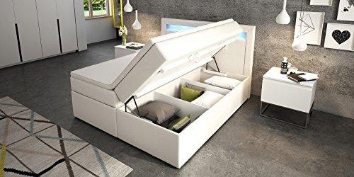 Boxspringbett mit Bettkasten weiß Sofia2 LED Beleuchtung Doppelbett Hotelbett Topper Taschenfederkern (160x200cm)