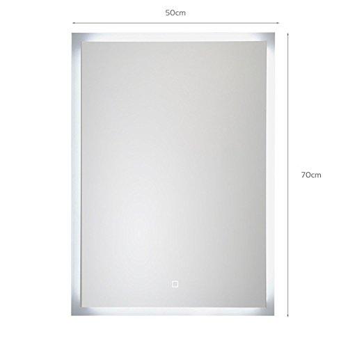 KROLLMANN Badspiegel mit LED Beleuchtung, Badezimmer Wandspiegel mit Touch Sensor (50x70 cm)