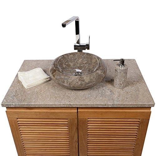 WOHNFREUDEN Marmor Waschbecken 40 cm ✓ klein rund grau beige ✓ Naturstein Waschplatz Handwaschbecken Steinwaschschale Naturstein-Aufsatzwaschbecken für Ihr Bad ✓ inkl. techn. Zeichnung ✓ schnell & versandkostenfrei