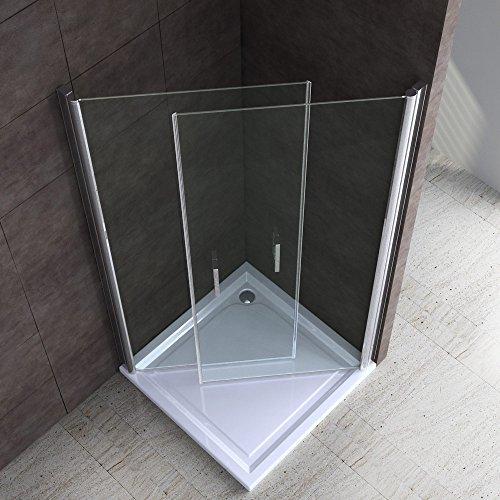 BTH: 80x100x190cm Design Duschabtrennung Ravenna22 mit Doppelschwingtür, ESG-Sicherheitsglas Klarglas, inkl. beidseitiger Nanobeschichtung