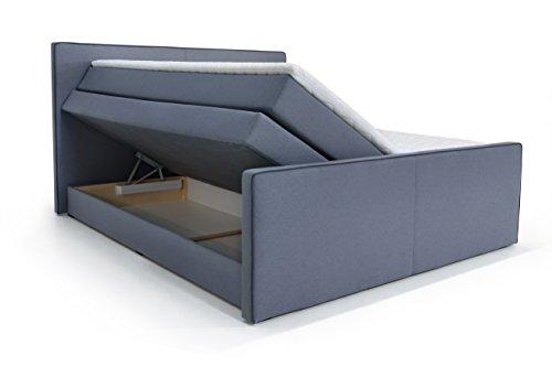B-famous Missisipi Boxspringbett, Stoff, grau, Double, 216 x 196 x 120 cm