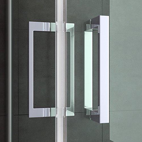 TBH: 75x90x195cm Design Duschabtrennung Ravenna24MS mit Doppelschwingtür, ESG-Sicherheitsglas Milchglas Streifen, inkl. Nanobeschichtung, Hebe- und Senkmechanismus, Duschkabine, Eckdusche
