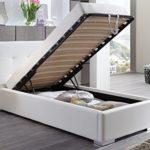 Polsterbett Bett mit Bettkasten 90x200 Weiß Betty Lattenrost Einzelbett Kinderbett