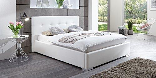 Polsterbett Kunstleder Bett mit Bettkasten Lattenrost 140x200 Weiss Doppelbett